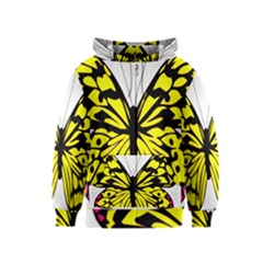 Yellow A Colorful Butterfly Image Kids  Zipper Hoodie