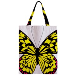 Yellow A Colorful Butterfly Image Zipper Classic Tote Bag