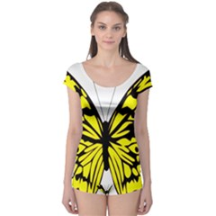 Yellow A Colorful Butterfly Image Boyleg Leotard