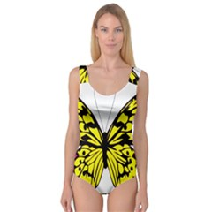 Yellow A Colorful Butterfly Image Princess Tank Leotard