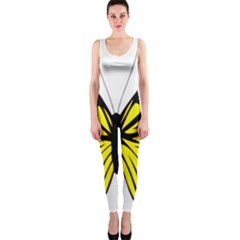 Yellow A Colorful Butterfly Image OnePiece Catsuit