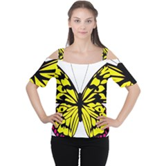 Yellow A Colorful Butterfly Image Women s Cutout Shoulder Tee