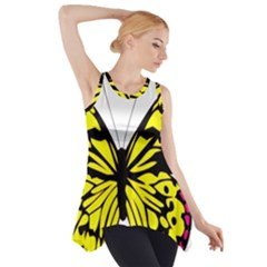 Yellow A Colorful Butterfly Image Side Drop Tank Tunic