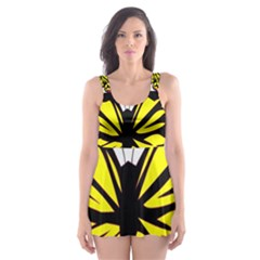 Yellow A Colorful Butterfly Image Skater Dress Swimsuit