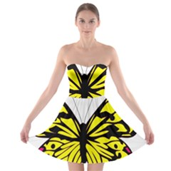 Yellow A Colorful Butterfly Image Strapless Bra Top Dress