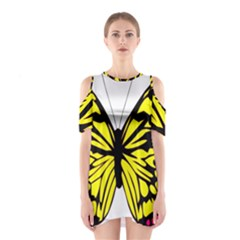 Yellow A Colorful Butterfly Image Shoulder Cutout One Piece