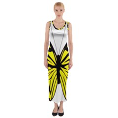 Yellow A Colorful Butterfly Image Fitted Maxi Dress