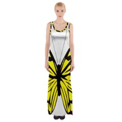 Yellow A Colorful Butterfly Image Maxi Thigh Split Dress