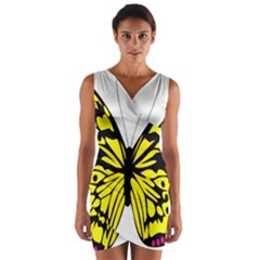 Yellow A Colorful Butterfly Image Wrap Front Bodycon Dress