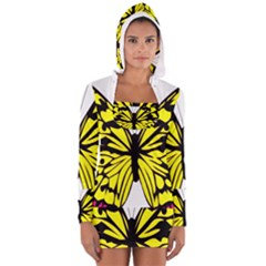Yellow A Colorful Butterfly Image Women s Long Sleeve Hooded T Shirt