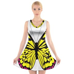 Yellow A Colorful Butterfly Image V Neck Sleeveless Skater Dress