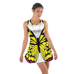 Yellow A Colorful Butterfly Image Cotton Racerback Dress