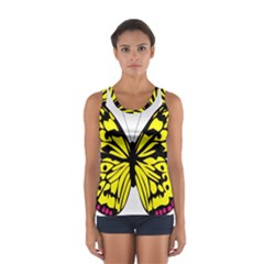 Yellow A Colorful Butterfly Image Women s Sport Tank Top