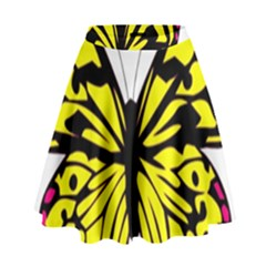 Yellow A Colorful Butterfly Image High Waist Skirt