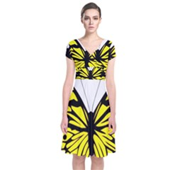 Yellow A Colorful Butterfly Image Short Sleeve Front Wrap Dress