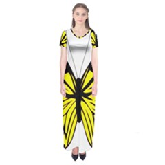 Yellow A Colorful Butterfly Image Short Sleeve Maxi Dress