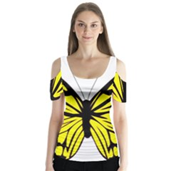 Yellow A Colorful Butterfly Image Butterfly Sleeve Cutout Tee