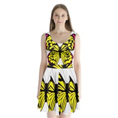 Yellow A Colorful Butterfly Image Split Back Mini Dress