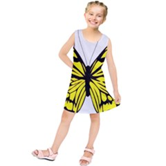 Yellow A Colorful Butterfly Image Kids  Tunic Dress