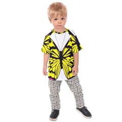 Yellow A Colorful Butterfly Image Kids  Raglan Tee