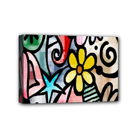 Digitally Painted Abstract Doodle Texture Mini Canvas 6  X 4