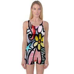 Digitally Painted Abstract Doodle Texture One Piece Boyleg Swimsuit