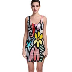 Digitally Painted Abstract Doodle Texture Sleeveless Bodycon Dress