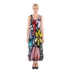 Digitally Painted Abstract Doodle Texture Sleeveless Maxi Dress