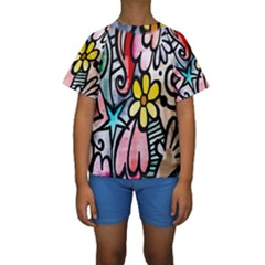 Digitally Painted Abstract Doodle Texture Kids  Short Sleeve Swimwear