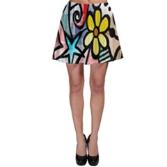 Digitally Painted Abstract Doodle Texture Skater Skirt