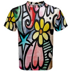 Digitally Painted Abstract Doodle Texture Men s Cotton Tee