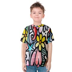 Digitally Painted Abstract Doodle Texture Kids  Cotton Tee