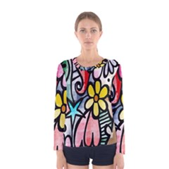 Digitally Painted Abstract Doodle Texture Women s Long Sleeve Tee
