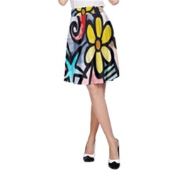 Digitally Painted Abstract Doodle Texture A-Line Skirt