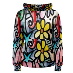 Digitally Painted Abstract Doodle Texture Women s Pullover Hoodie