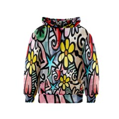 Digitally Painted Abstract Doodle Texture Kids  Zipper Hoodie