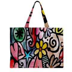 Digitally Painted Abstract Doodle Texture Zipper Mini Tote Bag