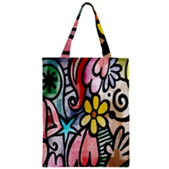 Digitally Painted Abstract Doodle Texture Zipper Classic Tote Bag