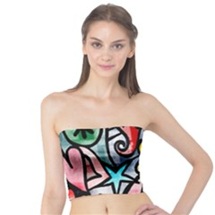 Digitally Painted Abstract Doodle Texture Tube Top