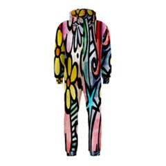 Digitally Painted Abstract Doodle Texture Hooded Jumpsuit (kids)