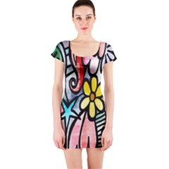 Digitally Painted Abstract Doodle Texture Short Sleeve Bodycon Dress