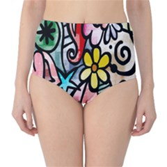 Digitally Painted Abstract Doodle Texture High Waist Bikini Bottoms
