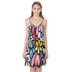 Digitally Painted Abstract Doodle Texture Camis Nightgown