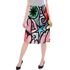 Digitally Painted Abstract Doodle Texture Midi Beach Skirt