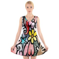Digitally Painted Abstract Doodle Texture V Neck Sleeveless Skater Dress
