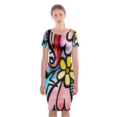 Digitally Painted Abstract Doodle Texture Classic Short Sleeve Midi Dress