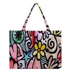 Digitally Painted Abstract Doodle Texture Medium Tote Bag