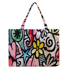 Digitally Painted Abstract Doodle Texture Medium Zipper Tote Bag
