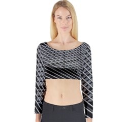 Abstract Architecture Pattern Long Sleeve Crop Top