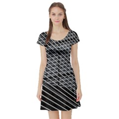 Abstract Architecture Pattern Short Sleeve Skater Dress
